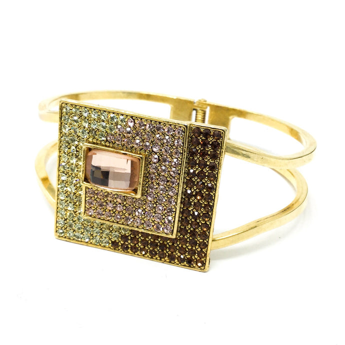 Square Gemstone Hinged Bracelet
