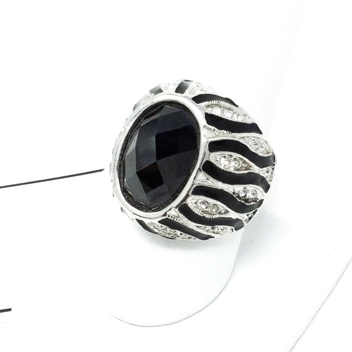 Striped Black Gem Ring