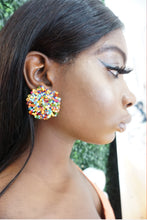 Neon Stud Beaded Earrings