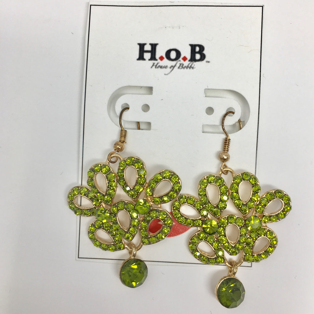 Green Flower Short Earrings