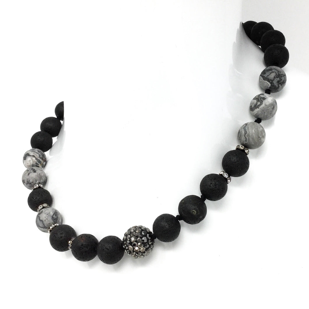 Black Silver and Sparkle Beaded Necklace