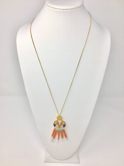 Peach Flamingo Necklace Set