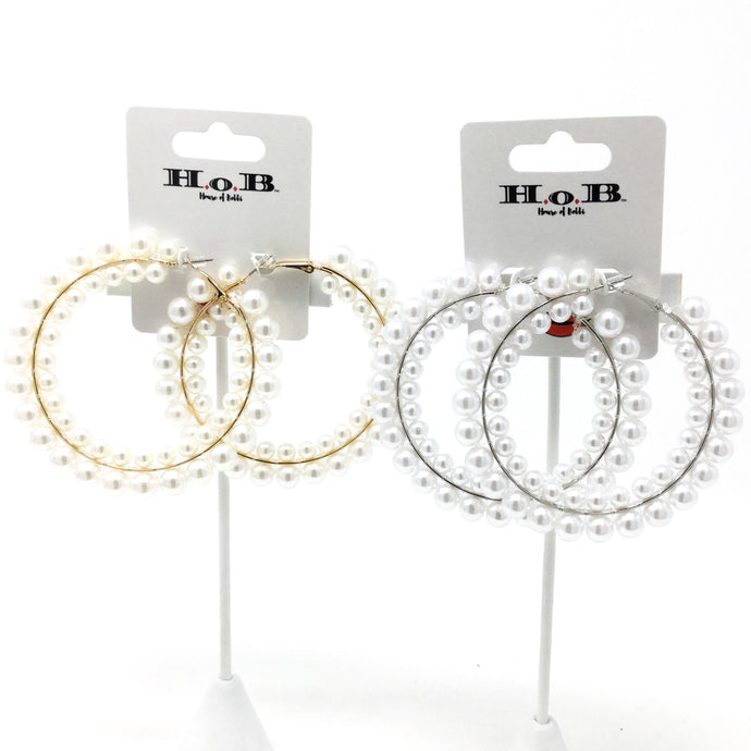 Double Row Pearl Hoops