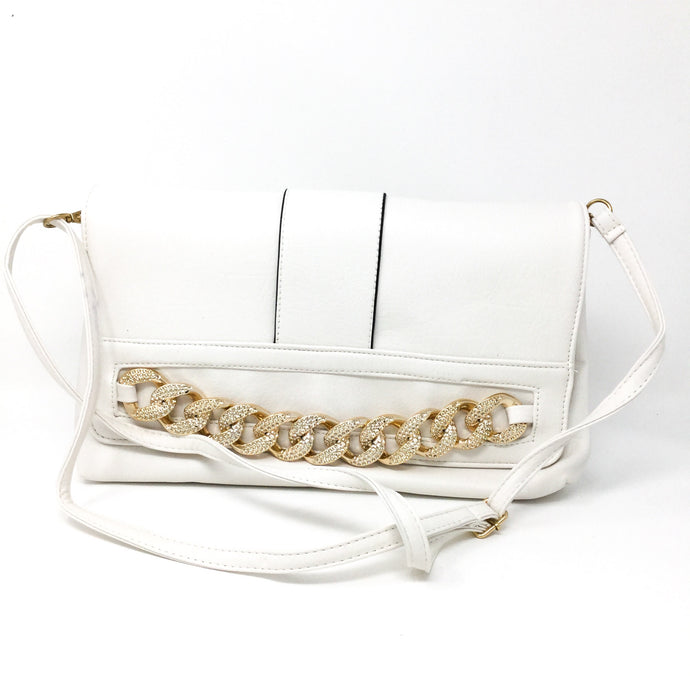 White and Gold Chain Clutch