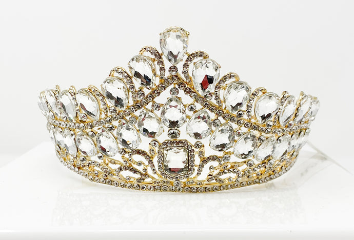 Gold White V-shaped Gem Tiara