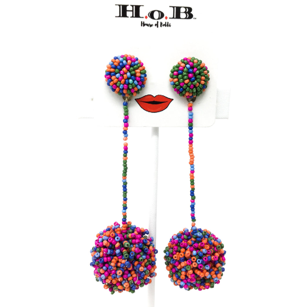 Multicolored Beaded Ball Earrings