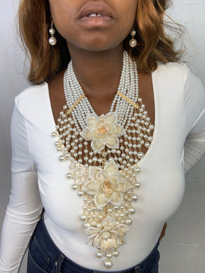 White Floral Pearl Statement Necklace