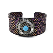 Purple Leather Cuff With Turquoise Gem