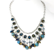 Blue Beaded Silver Necklace