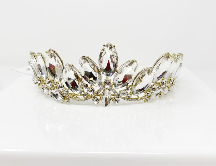 Gold white gem tiara