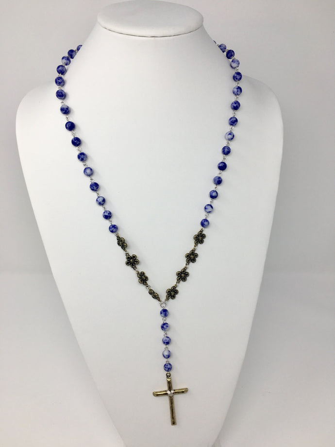 Rosary Beaded Flower Necklace