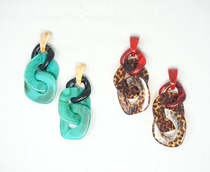 Acrylic Linked Drop Earrings