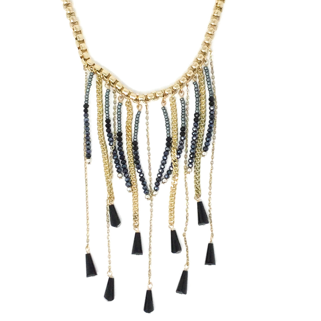 Golden Necklace with Navy Blue Beads