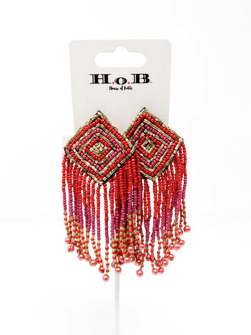Geometric glam beaded Tassel Earrings