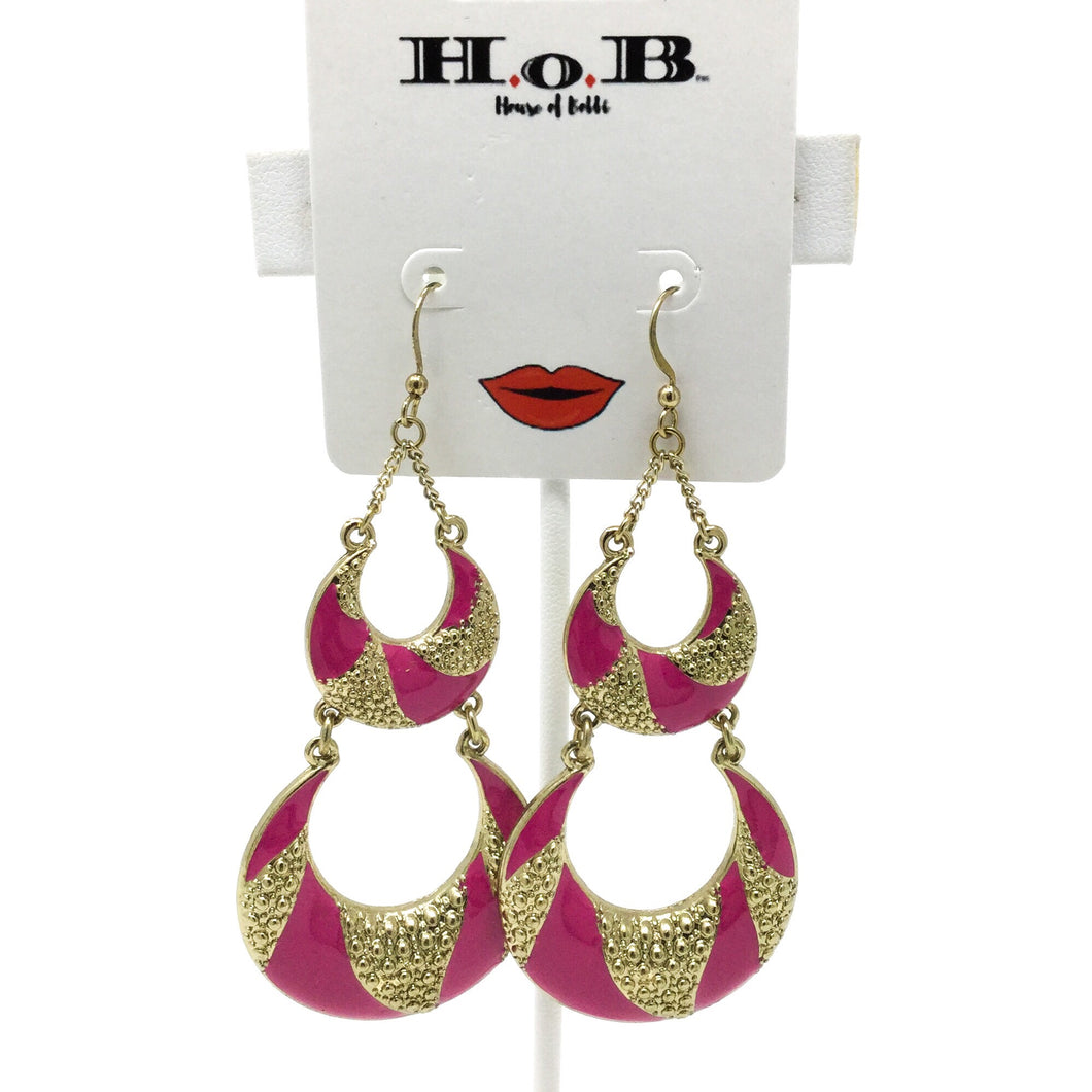 Pink Crescent Earrings