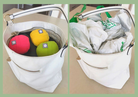 3 flip and tumble 24/7 reusable shopping bags vs. 3 plastic grocery bags