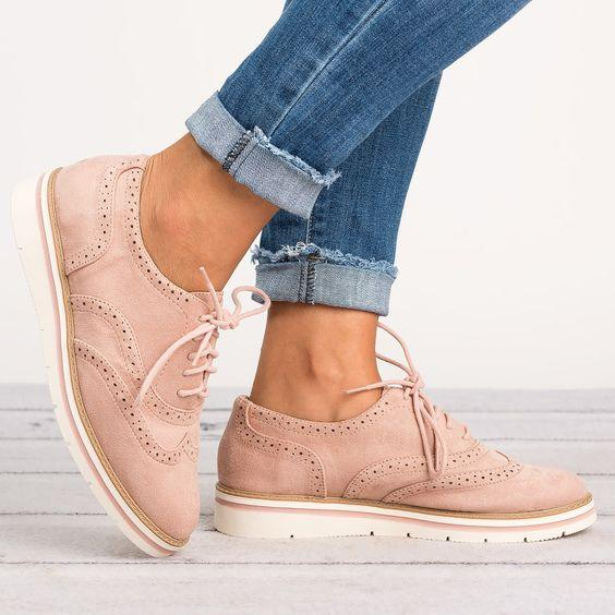 b0a8783f0d37e Rikkishop flying Womens Leather Perforated Lace-up Oxfords Shoes-Rikkishop  – RIKKISHOP