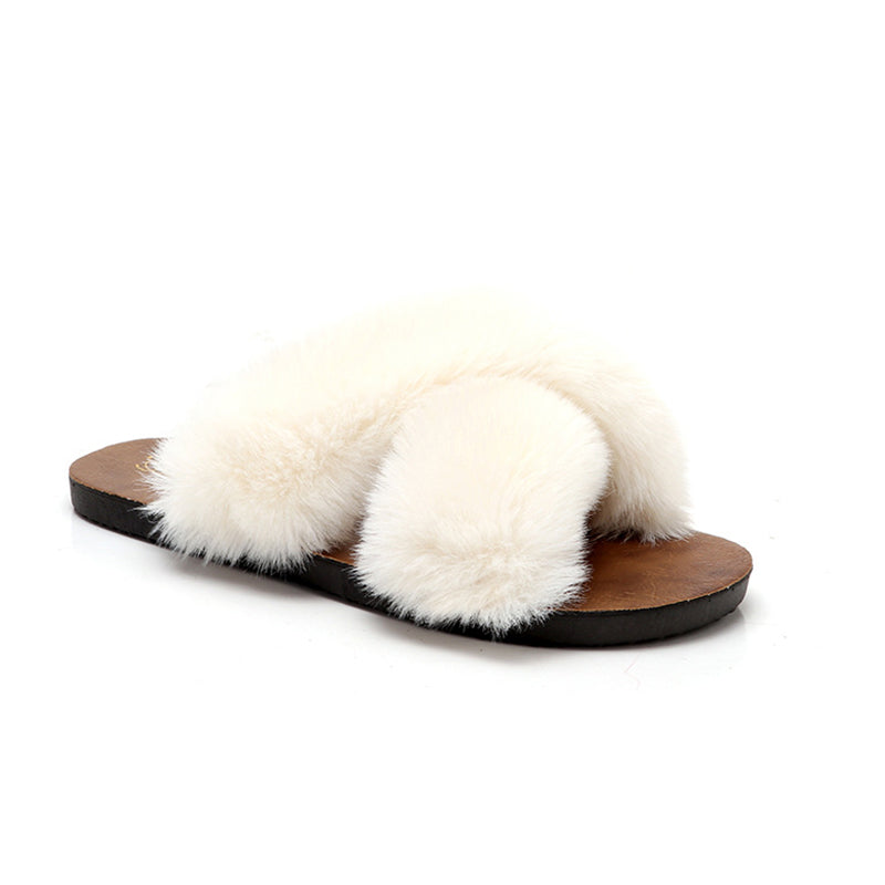 Pi Clue All Season Flat Heel Fur Faux Fur Slippers