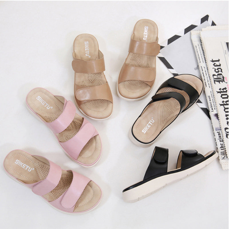 Pi Clue Magic Tape Summer Flat Heel Leather Slippers