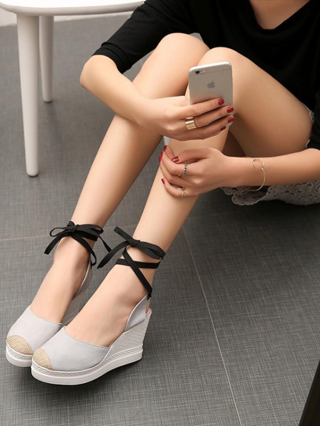 Solid Color Round Toe Ankle Strap Buckle Wedges