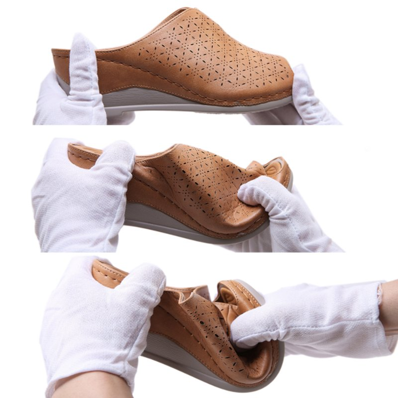 Pi Clue Leather Wedge Heel Date Slippers