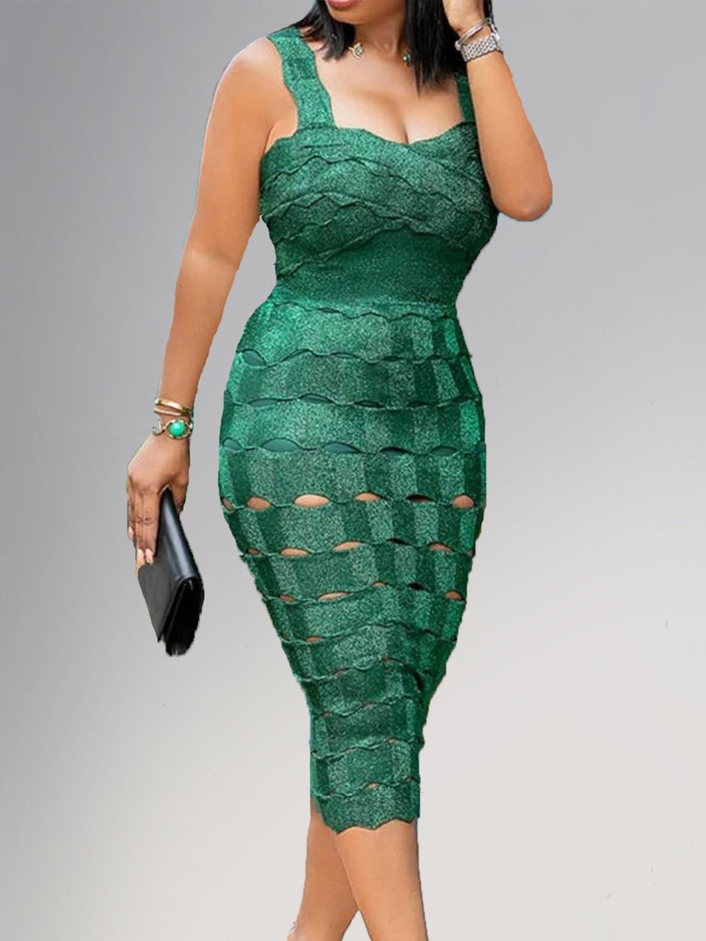 2019 New Style Plus Size Green Sexy Party Cutout Sleeveless Tank Bodycon Dress Rikkishop