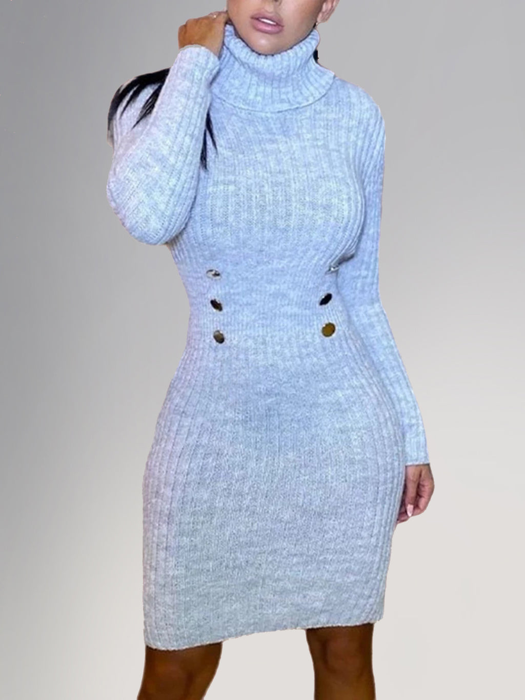 Light Gray Long Sleeve Sexy Knit Dresses Rikkishop