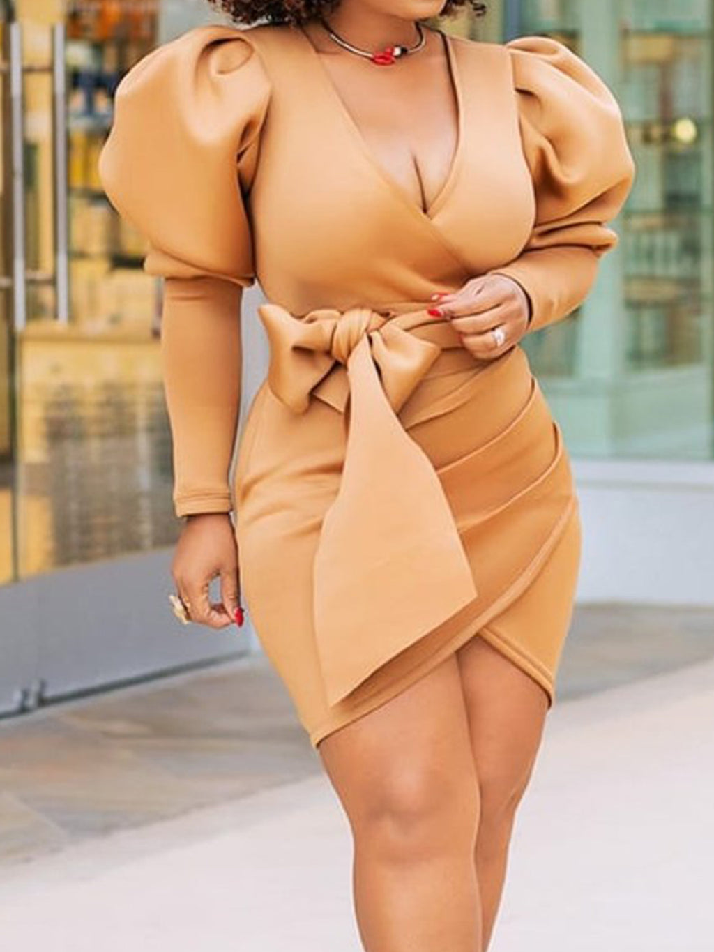 Brown Sexy Party V Neck Bow Lantern Sleeve Balloon Sleeve Bow Bodycon Dresses Rikkishop