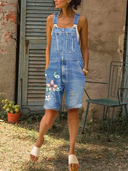 Flora Casual Denim Jumpsuit