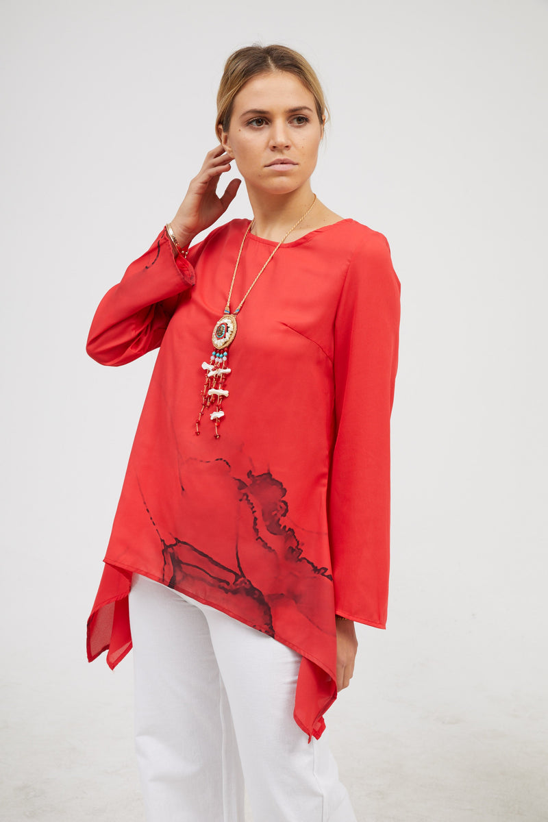 Asymmetrical Long Sleeve Shirts & Tops RIKKISHOP