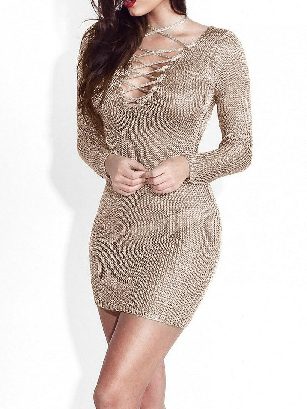 Gold Plus Size Sexy Party V Neck Eyelet Lace-Up Sweater Bodycon Dresses Rikkishop