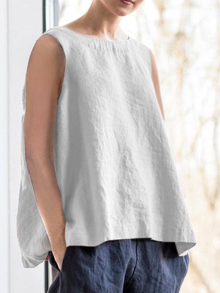 Elegant  Sleeveless Cotton Blouses