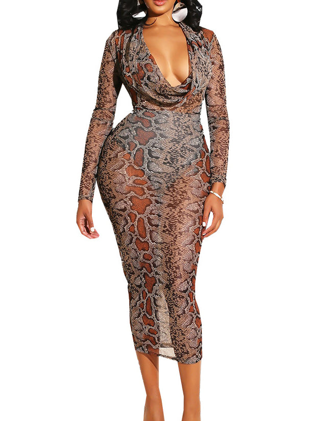 Sexy Plus Size Printed Red Brown Snakeskin Long Sleeve Bodycon Dresses Rikkishop