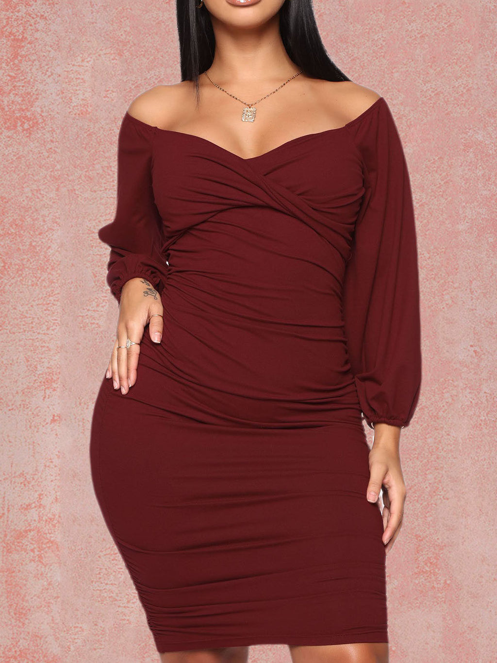 Burgundy Sexy Long Sleeve Plus Size Off Shoulder Ruched Gathered Bodycon Dress Rikkishop