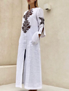 Women V neck Slit Fall Dress Shift Linen Tribal Maxi Dress