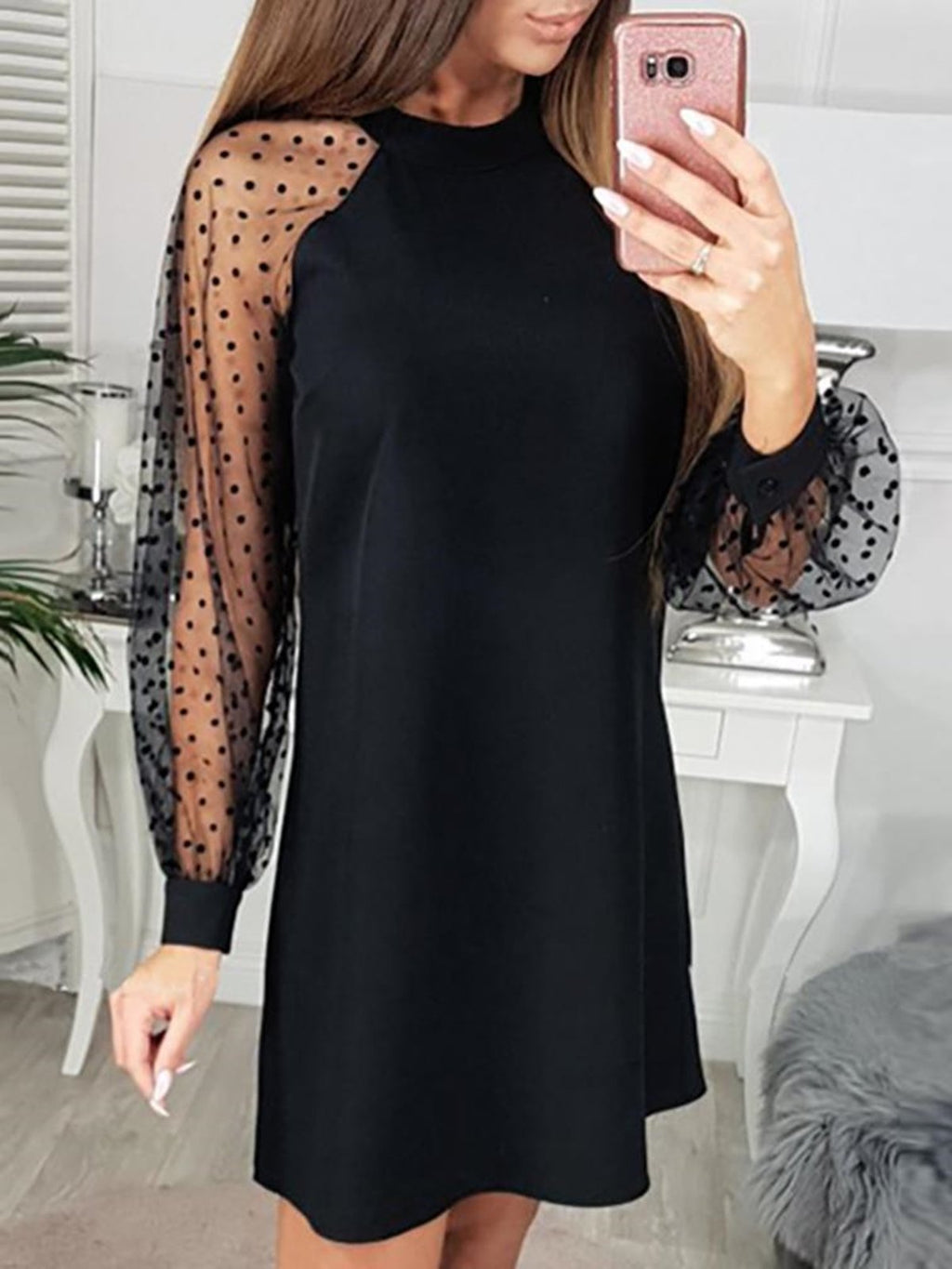 Black Plus Size Mesh Overlay Dot Long Sleeve Homecoming Casual Dress Rikkishop
