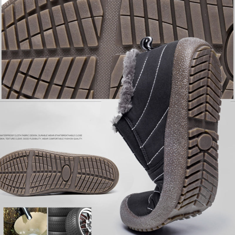 Large Size Unisex Waterproof Fur Lining Slip On Snow Boots Rikkishop