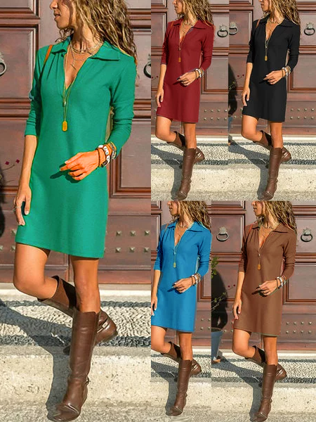 Rikkishop 2020 Plus Size Solid Shirt Collar Long Sleeve V Neck Casual Vintage Mini Dresses