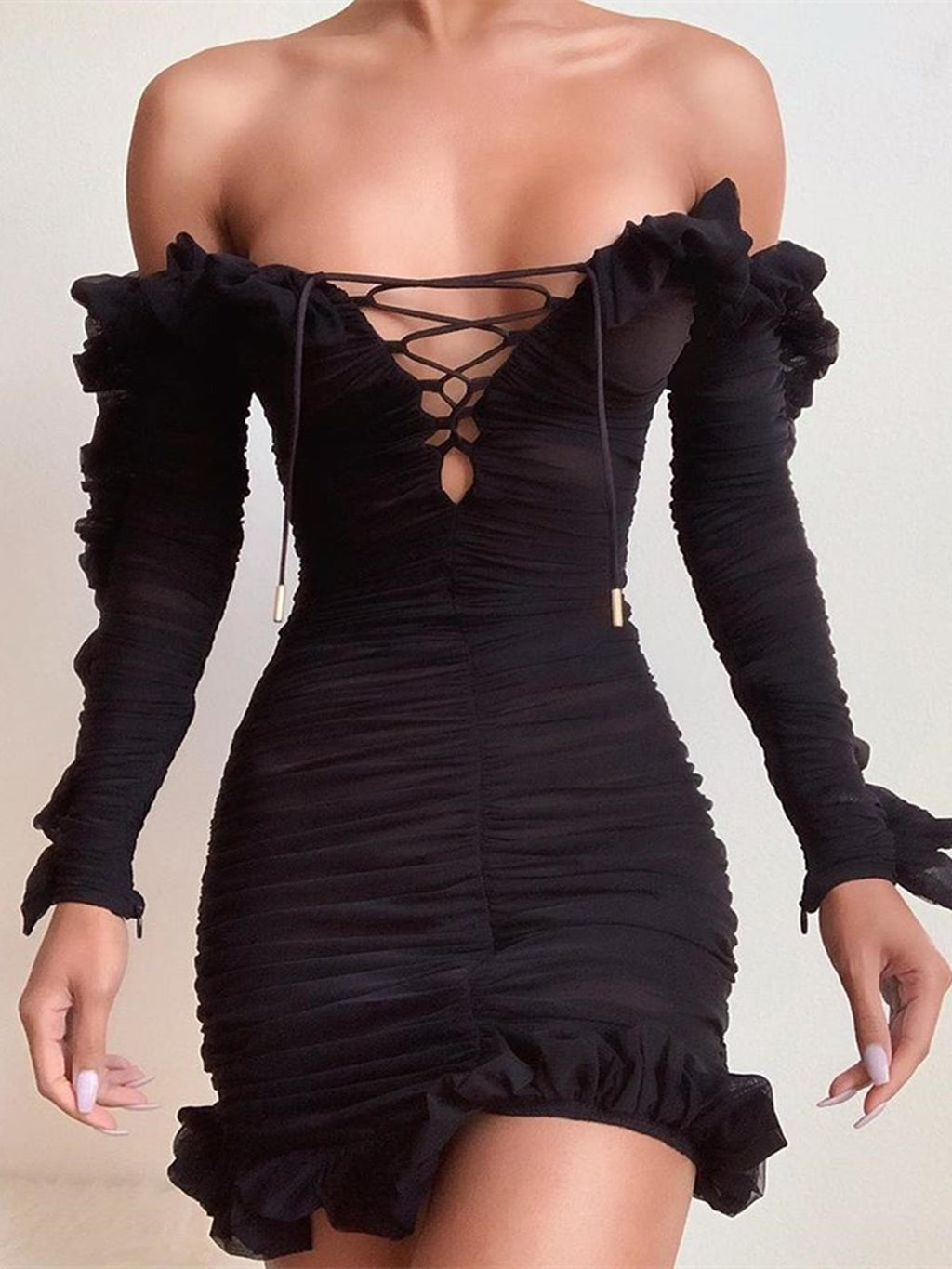 Solid Lace-Up Off Shoulder Ruffles Ruched Dress Rikkishop