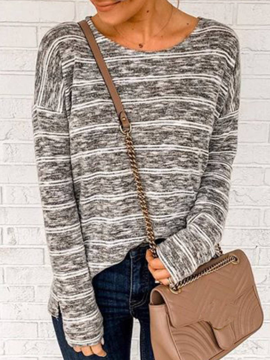 Gray Casual Crew Neck Long Sleeve Shirts & Tops