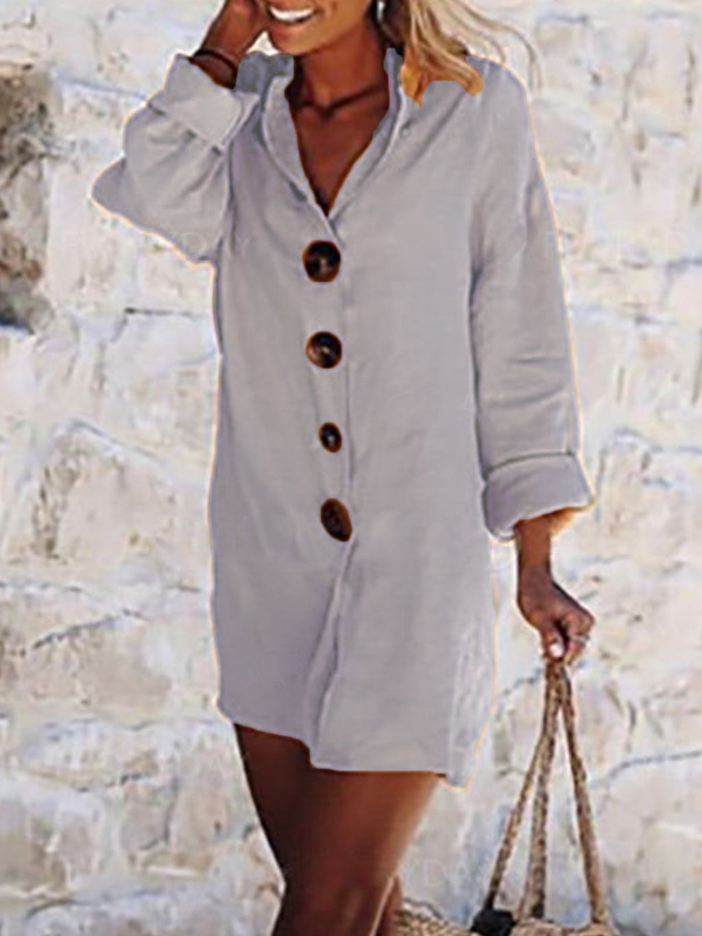 Buttoned Solid Shirt Collar Casual Vacation Dress Rikkishop