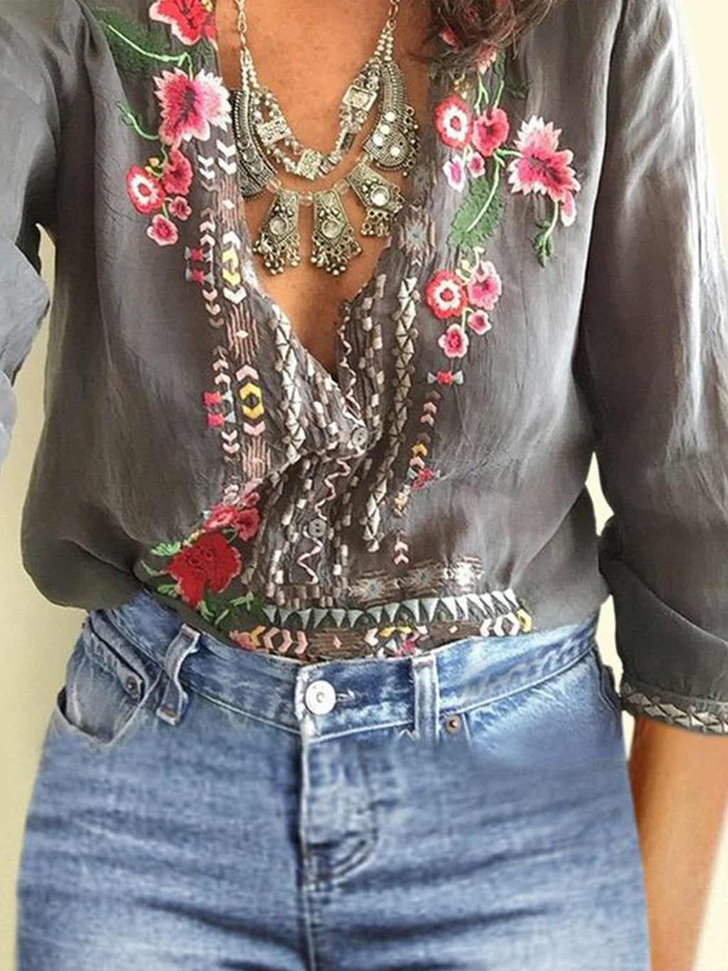 Gray V Neck Floral Long Sleeve Color-Block Blouses RIKKISHOP