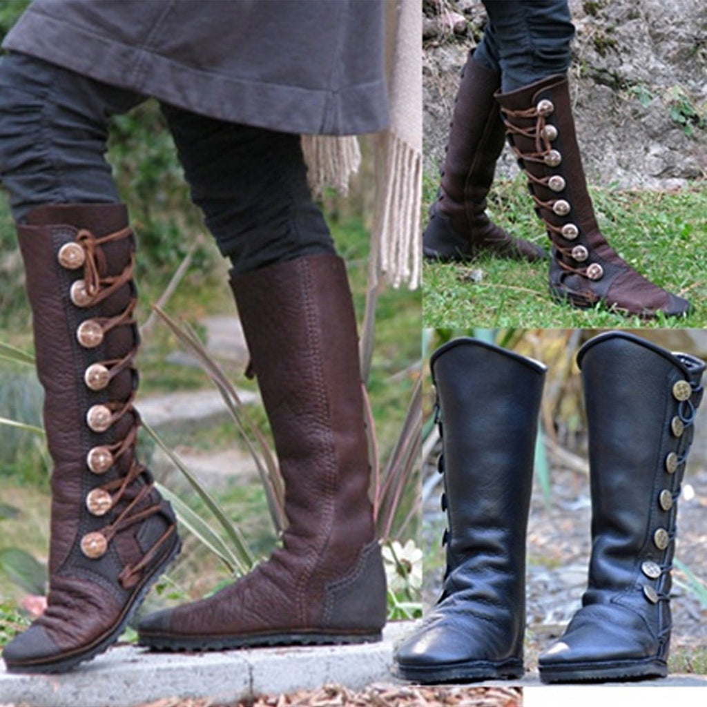 Women Fashion  Side Buttons Bandage Leather Boots Rikkishop