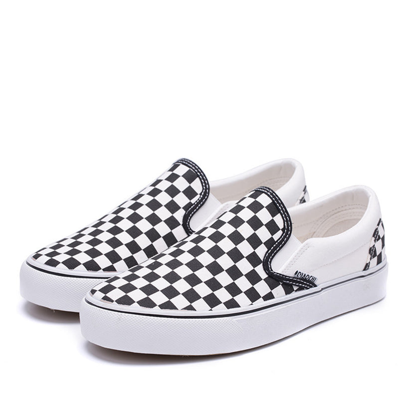 Canvas Slip On Checkerboard Loafers Sneakers Rikkishop