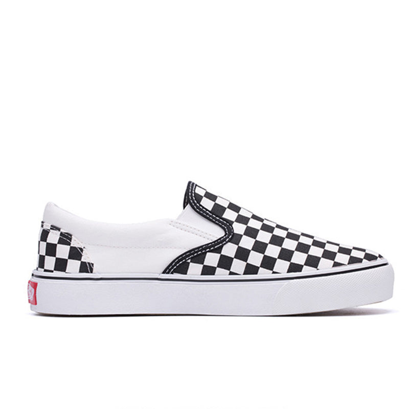 Black Fashion Canvas Slip On Checkerboard Loafers Sneakers Tennis Checkered Shoes Rikkishop