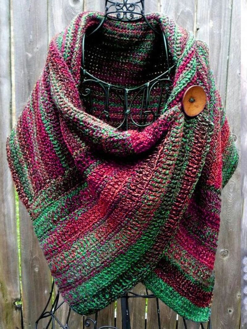 Women's  Casual Multicolor Stripes  Round Neck Scarves & Shawls Rikkishop