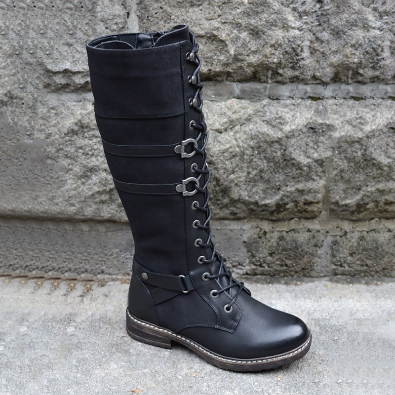 Casual Lace up Winter Warm Motorcycle Boots