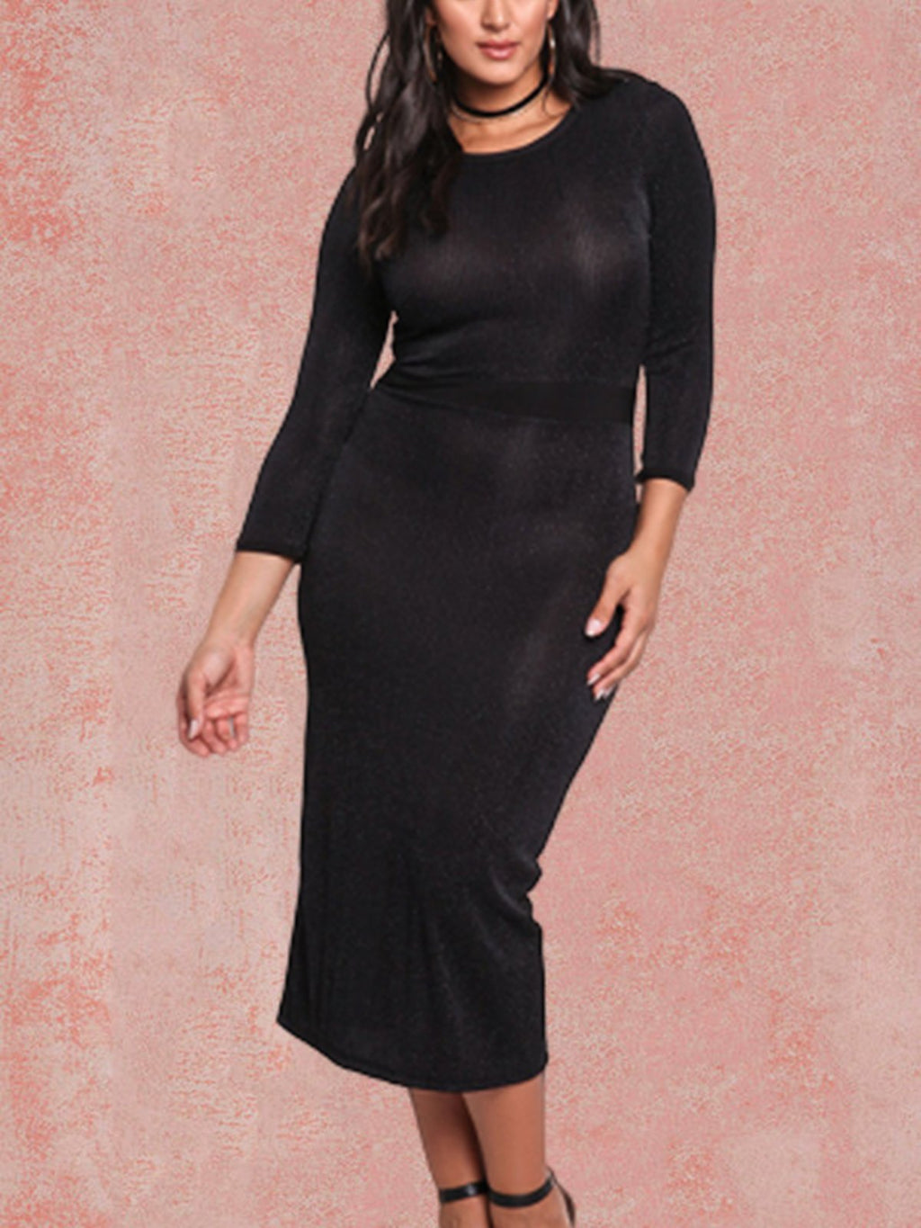 Long Sleeve Casual Plus Size Black Sexy Work Pencil Bodycon Dress Rikkishop