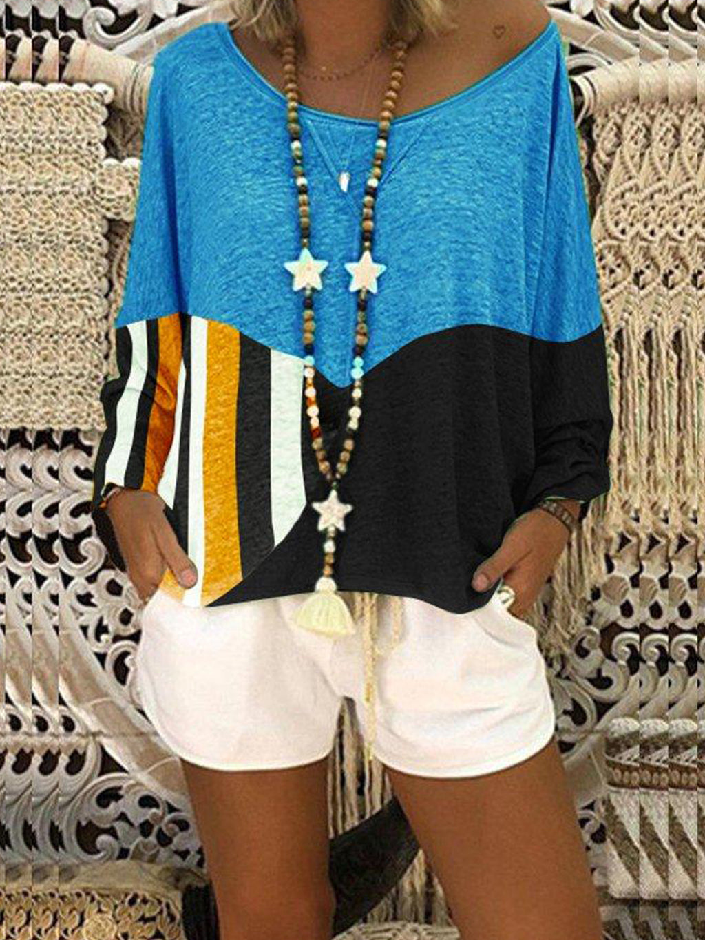Color-Block Long Sleeve T-Shirt & Blouse