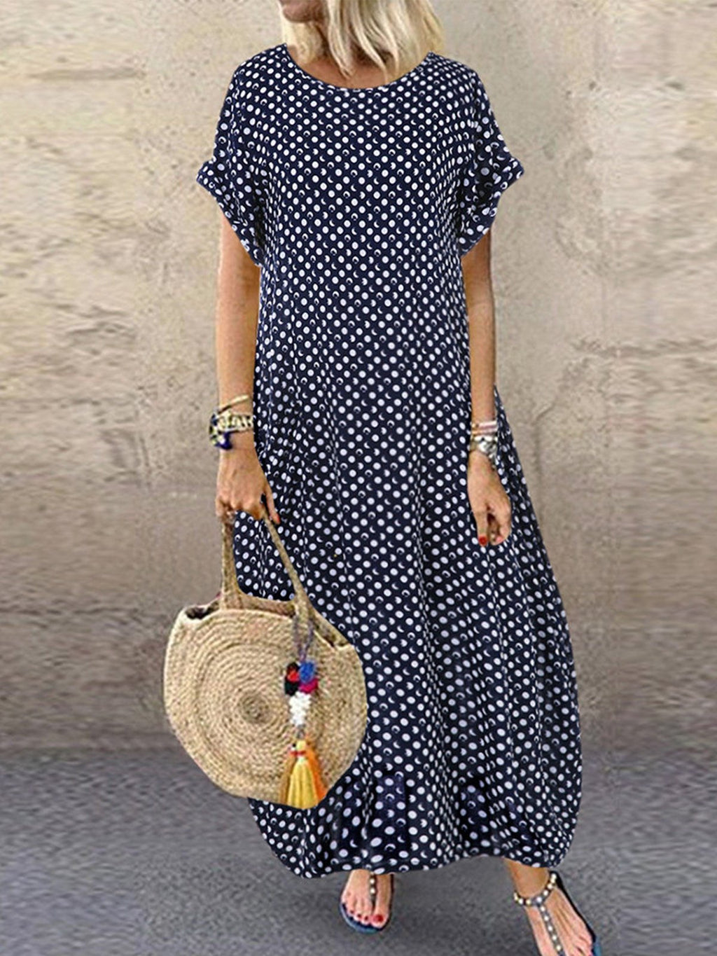 Printed Polka Dots Short Sleeve Crew Neck Maxi Dresses Rikkishop